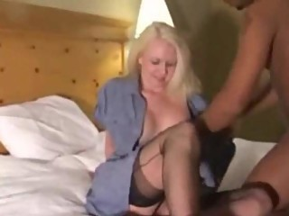 Blonde in black stockings fucked by black lovers (Camaster)
